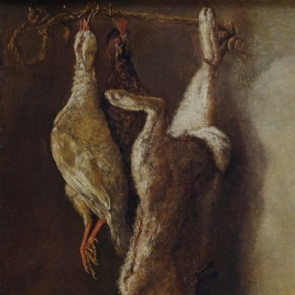 Kitchen still life with a hare and two partridges