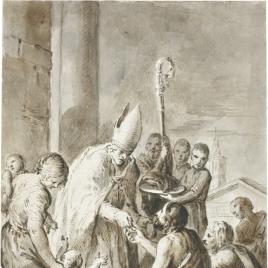 Santo Tomás de Villanueva dando limosnas / Apunte para tres figuras