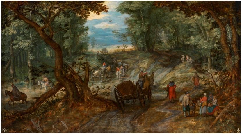 Bosque con carretas atravesando un arroyo y jinetes