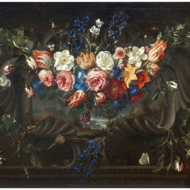 Garland of Flowers with a Landscape