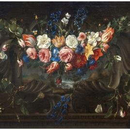 Guirnalda de flores y paisaje