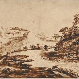 Paisaje con figuras, un camino, un rio y casas
