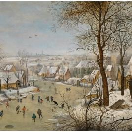 Paisaje nevado con patinadores y trampa para pájaros