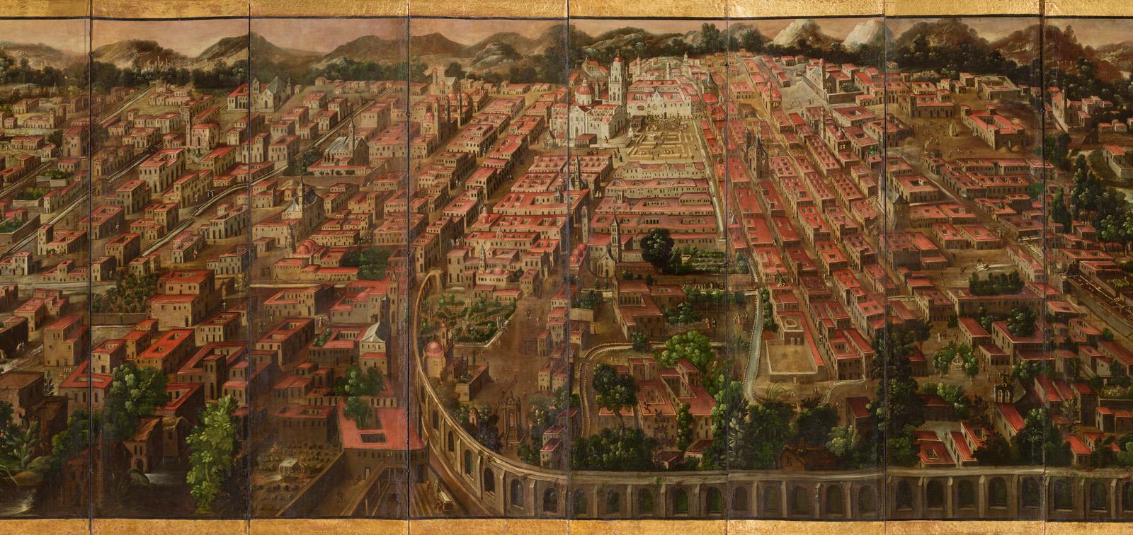 Biombo de la Conquista de México y La muy noble y leal ciudad de México