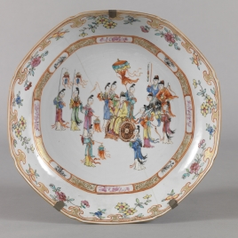 Circular Chinese porcelain platter. Dutch East India Company
