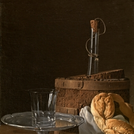 Still Life with Box of Jelly, Bread, Salver with Glass and Cooler