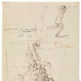 Grupo de soldados agitados con estandartes / Muerte de la Cava. Escena histórica de la Reconquista