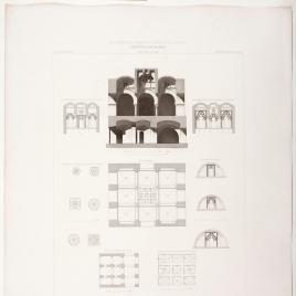 Planta, alzado y detalles de la mezquita de las Tornerías en Toledo