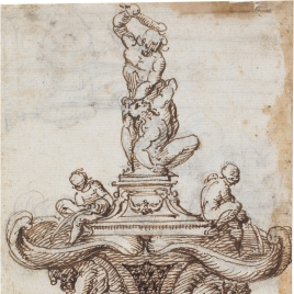 Fountain with Hercules striking Cacus with his club / Study for a fountain and design for a pilaster and capital