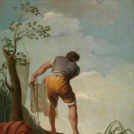 Pescador tendiendo redes