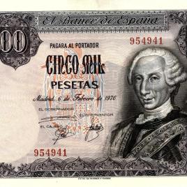 Billete de 5000 pesetas emitido por el Banco de España el 6 de febrero de 1976