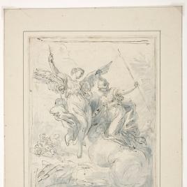 Dos figuras femeninas alegóricas / Grupo de ninas y faunos en un paisaje