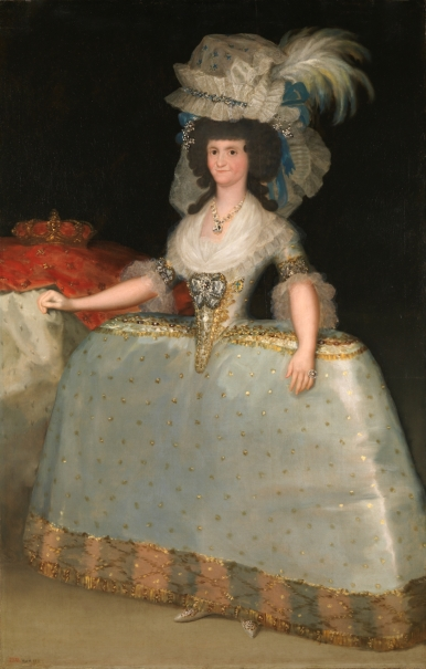Queen María Luisa in a Dress with hooped Skirt