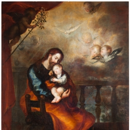 Saint Joseph with the Christ Child Sleeping in his Arms