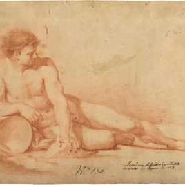 Academia. Desnudo masculino reclinado sobre una ánfora