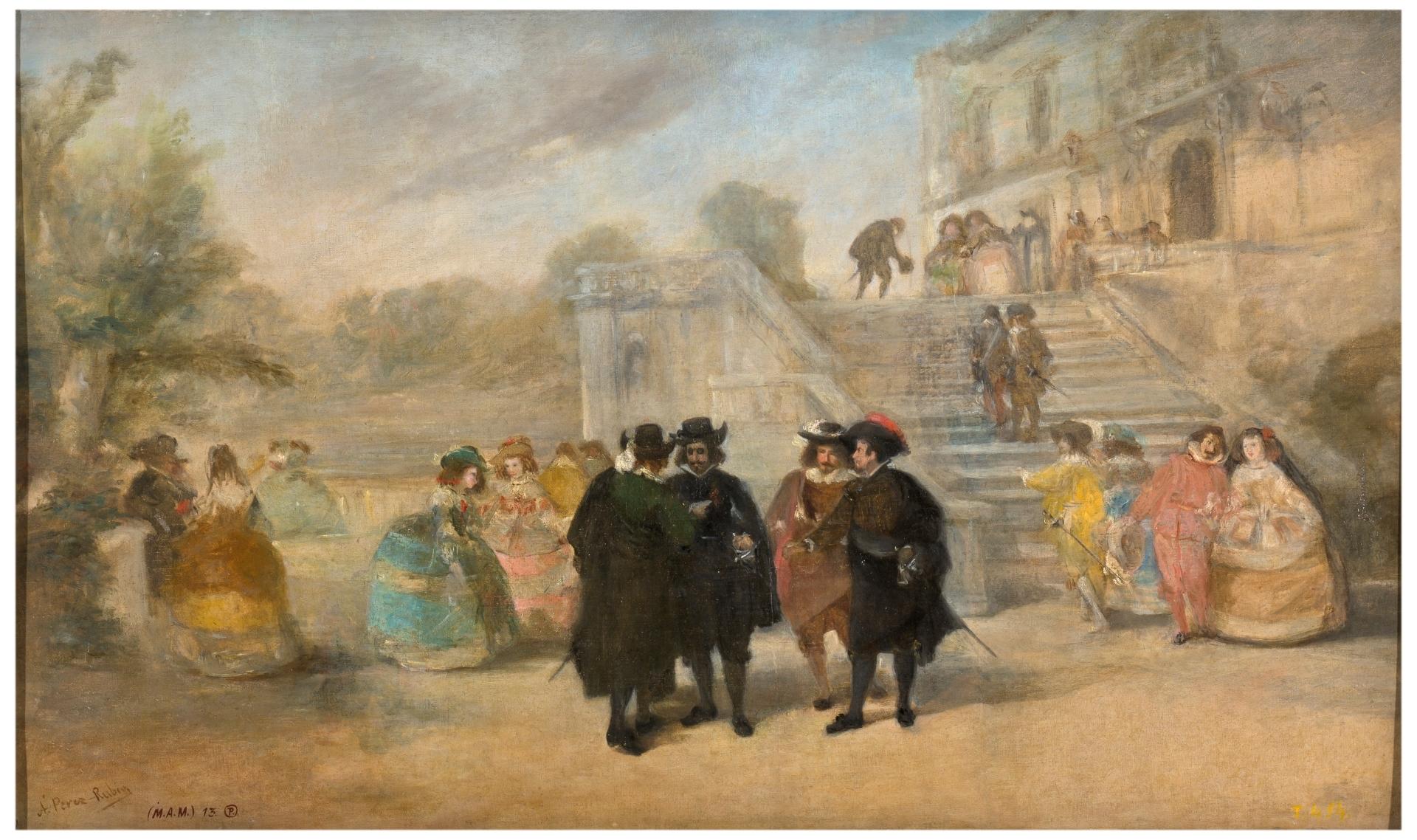 Intriga contra don Francisco de Quevedo y Villegas en los jardines del  palacio del Buen Retiro - Colección - Museo Nacional del Prado