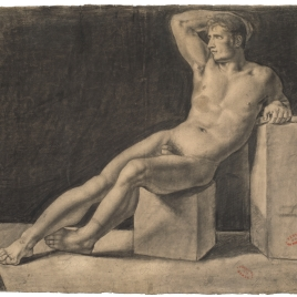 Desnudo masculino recostado / Apunte de desnudo masculino tumbado