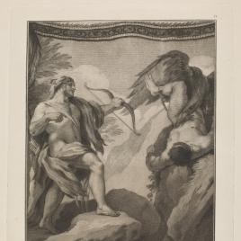Hércules mata al buitre que sacaba las entrañas a Prometeo