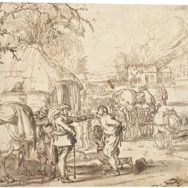 Escena militar con el saqueo de un poblado