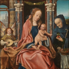 The Holy Family with a Musician Angel, Saints Catherine and Barbara