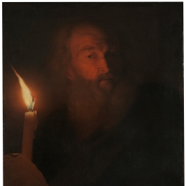 Old Man reading by Candlelight