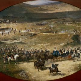 La reina María Cristina y su hija Isabel II pasando revista a las baterías de artillería que defendían Madrid en 1837