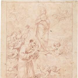 San Cayetano con el Niño y la Virgen en Gloria