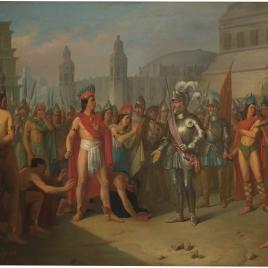 Prisión de Guatimocín, último emperador de los mejicanos, por las tropas de Hernán Cortés, y su presentación a este en la plaza de Méjico