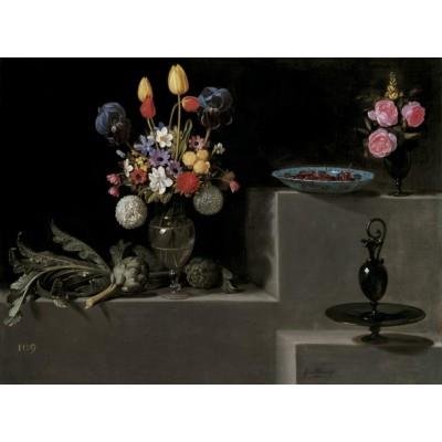 """Still Life with Artichokes, Flowers and Glass Vessels"""