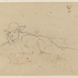 Campesino con sombrero tumbado boca abajo en Alcalá de Guadaíra, Sevilla