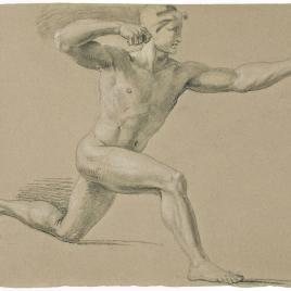 Estudio de desnudo masculino tensando un arco