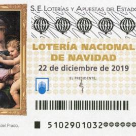 Capilla de billete de Lotería Nacional para el sorteo de 22 de diciembre de 2019