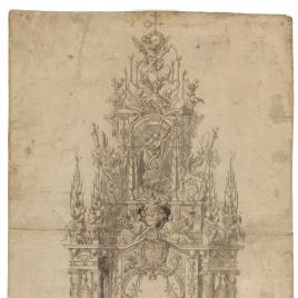 Traza del Túmulo en honor de Carlos II, erigido en Madrid (alzado)