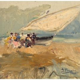 Barca en la playa del Cabañal (Valencia)