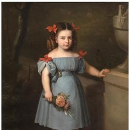 Retrato de niña con rosas