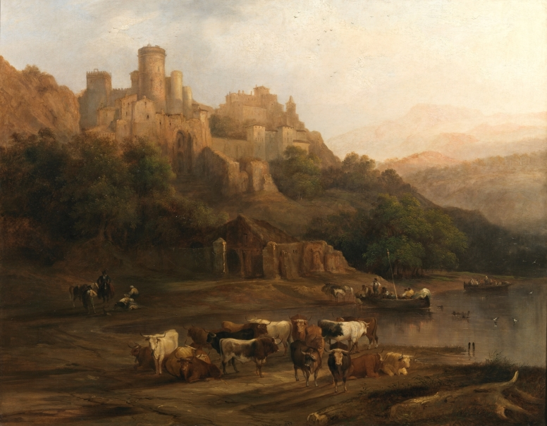 Herd of Bulls by a River below a Castle