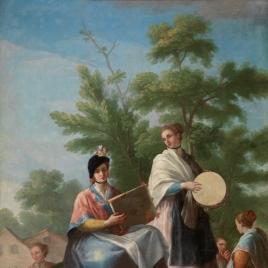 Mozas tocando el pandero