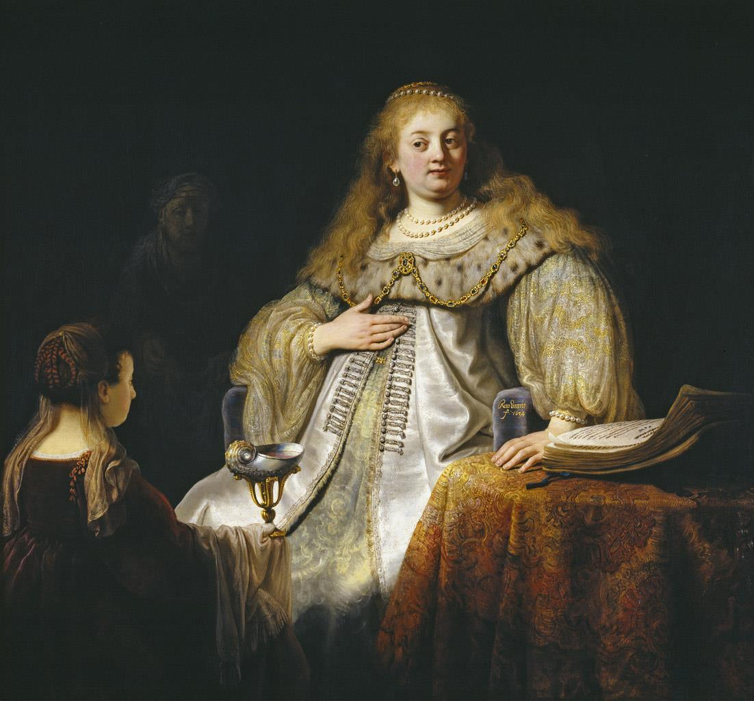 Judit en el banquete de Holofernes [Rembrandt]