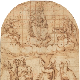 Design for an Altarpiece, with the Virgin and Child Appearing to Four Saints