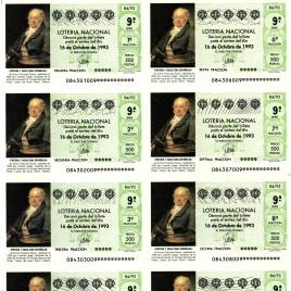 Capilla de billete de Lotería Nacional para el sorteo de 16 de octubre de 1993