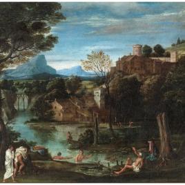 Paisaje con río y bañistas