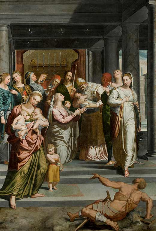 The Purification of the Virgin in the Temple by Pedro de Campaña, after restoration