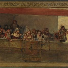 Figuras de la Edad Media en una tribuna (boceto)