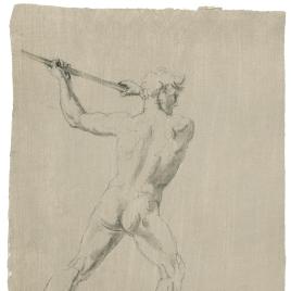 Estudio de desnudo masculino de espaldas blandiendo un palo