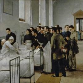 Una sala del hospital durante la visita del médico en jefe