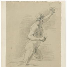 Estudio de desnudo masculino arrodillado de perfil empuñando una espada