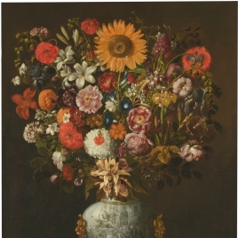 Vase of Flowers decorated with a Triumphal Chariot seen in Profile