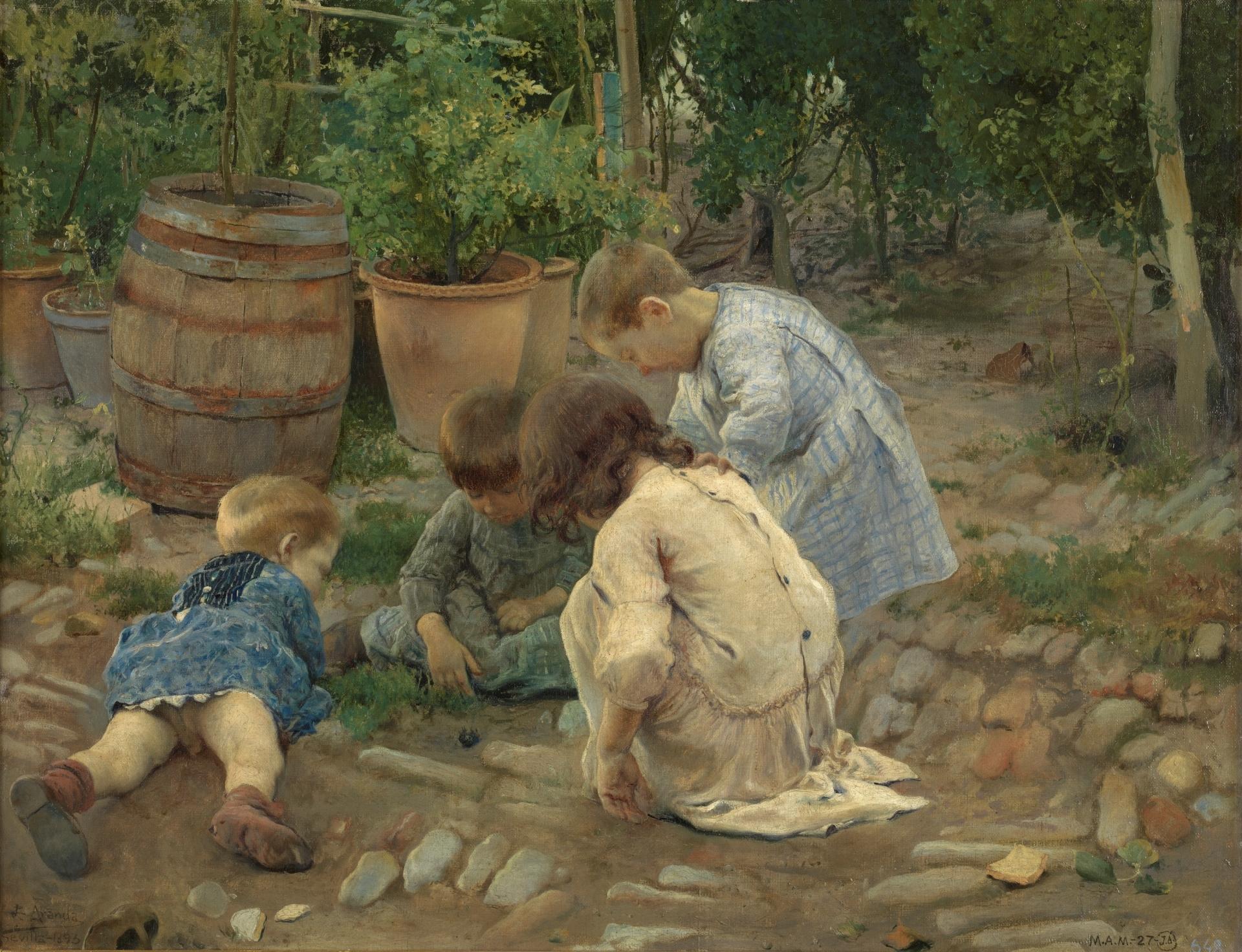 Resultado de imagen de Los pequeños naturalistas. José Jiménez Aranda. 1893. Óleo sobre lienzo