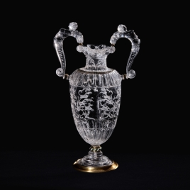 Tall rock crystal vase with handles in the form of beasts