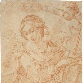 Santa Catalina de Alejandría coronada por un ángel